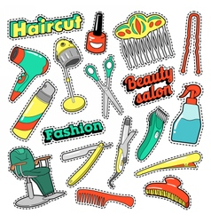 Hair Beauty Salon Patches Badges Stickers vector