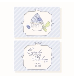 Hand drawn blueberry cupcake business cards vector image