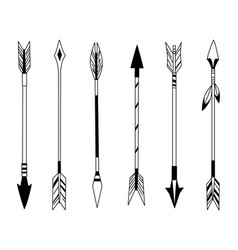 Hand drawn feather arrow tribal feathers on vector