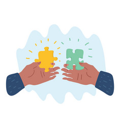Hands putting puzzle pieces vector