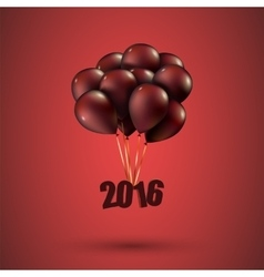 Happy new year 2016 card balloons font editable vector