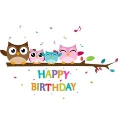 Happy owl family celebrate birthday vector image