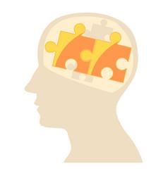 Head with puzzle icon cartoon style vector