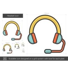 Headset line icon vector