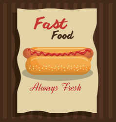 hot dog fast food design isolated vector image