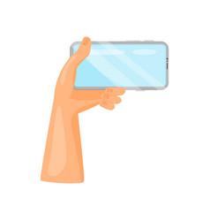 human left hand holding mobile phone horizontally vector image