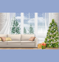 Interior living room decorated christmas tree vector