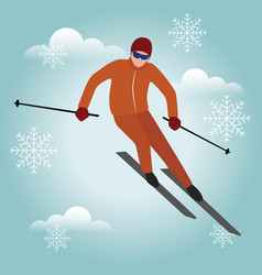 Isometric isolated man skiier urban style vector