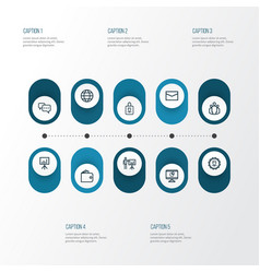 Job outline icons set collection of mail vector