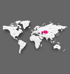 kazakhstan pink highlighted in map of world light vector image
