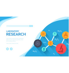 Laboratory research landing page template vector