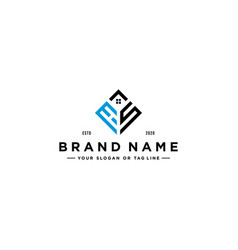 Letter hs square with roof house logo design vector
