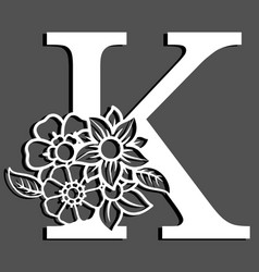 Letter silhouette with flowers letter k vector