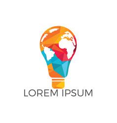 Light bulb with world map logo design vector