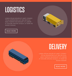 Logistics and delivery isometric banner set vector