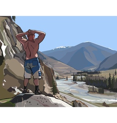 man standing on a cliff in the mountains and river vector image