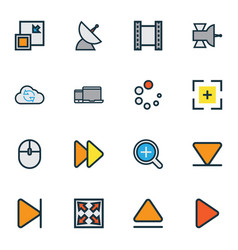 Music icons colored line set with magnifier eject vector