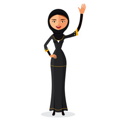Muslim woman waving her hand in traditional vector
