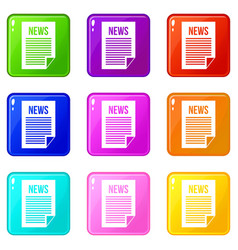 News newspaper set 9 vector