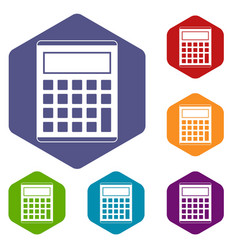office school electronic calculator icons set vector image