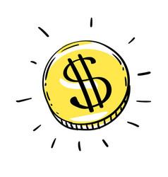 One dollar coin usd vector
