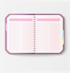 open realistic notebook with pages diary office vector image