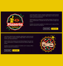 Pizzeria italiano websites set vector
