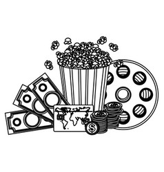 Pop corn clipart movie and money icon vector