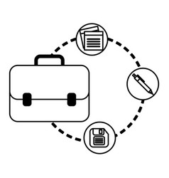 Portfolio briefcase with documents and floppy vector