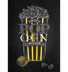 Poster popcorn butter black vector