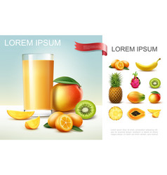 realistic fresh fruit juice composition vector image