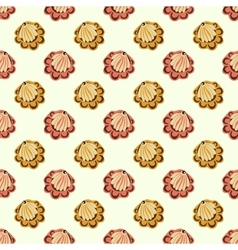 Red and yellow shell flowers seamless pattern vector image