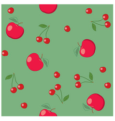 red apples and cherries on green background vector image