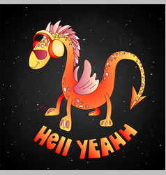 red cartoon cute dragon cartoon vector image