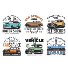 Retro vehicles auto service vintage car repair vector