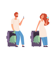 rich characters wealth woman man with money cash vector image