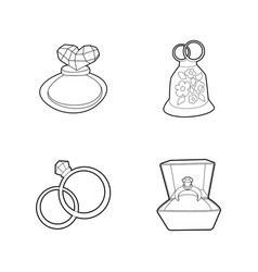 ring icon set outline style vector image