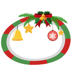 Round border template with christmas theme vector