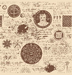 seamless pattern manuscript with occult symbols vector image