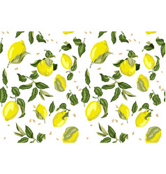 Seamless pattern with juicy lemon fruits and seed vector