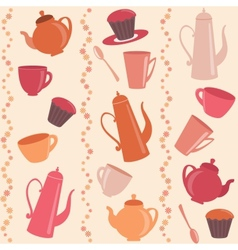 Seamless stripy pattern with tea and coffee items vector image