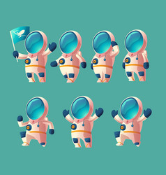 set cartoon spaceman moving cosmonaut vector image