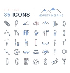 Set Flat Line Icons Mountaineering vector image