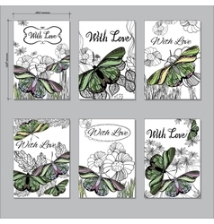 set hand Floral card a6 with butterfly Hand drawn vector image