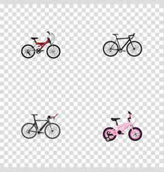 Set of bicycle realistic symbols with triathlon vector