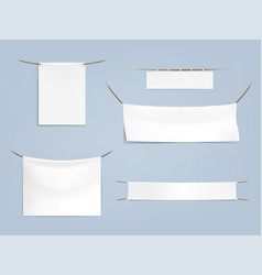 Set of white blank textile banners vector