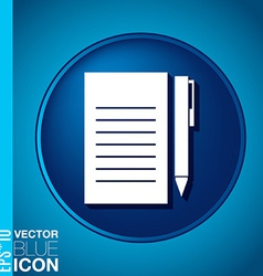 sheet of paper with pen vector image