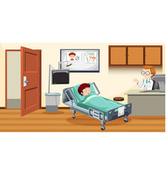 Sick child in bed at hospital vector
