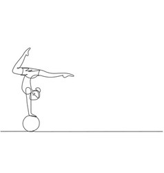 Single one line drawing a female acrobat performs vector