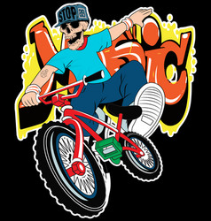 skull boy on a bicycle on a white background vector image